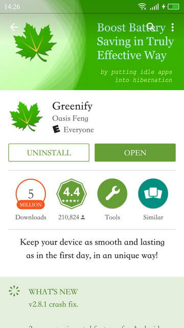Greenify app's PlayStore link