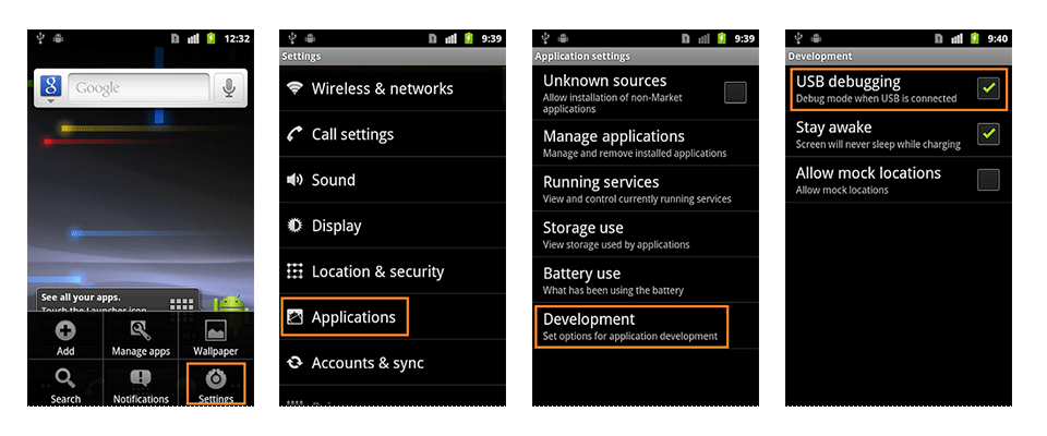 How to enable usb debugging mode on android 2.0?
