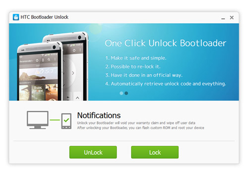 HTC Bootloader Unlock offers you one click unlock Bootloader on your
