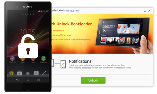 SONY Bootloader Unlock offers you one click unlock